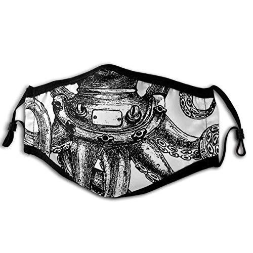 SURERUIM Gesichtsbedeckung Vintage Style Taucher Octopus Marine Animal Tentacles Scuba Concept Sturmhaube Unisex Wiederverwendbare Winddichte Anti-Staub-Mund Bandanas Halsmanschette mit 2 Filtern