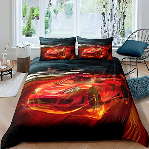 Race Car Duvet Cover Sets Double Size Boy's Sport Bedding Set with Zipper for Kids Teens 3 Pieces Soft Microfiber Skin-Friendly Decor Comforter Cover 3D Red Speed Sports Car Quilt Cover Cool