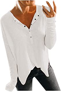Women Simple Buttons Crewneck Loose Blouse Long Sleeve Solid Color Casual Shirts EUR American Autumn Winter Tops