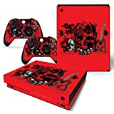ZOOMHITSKINS X1 X Skins for Console and Controller, Glossy Skulls Cranium Red Rock Guitar Black Heavy Metal, High Quality, Durable, Bubble-free Goo-free, 2 Controller Skins 1 Console Skin, USA Made