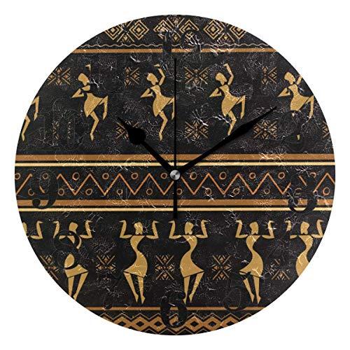 Mesllings Reloj de pared redondo de cuarzo para mujer, estilo étnico, estilo étnico, negro, funciona con pilas, 9.84 pulgadas
