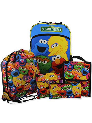 Sesame Street Boys Girls 5 piece Backpack Lunch Bag and Snack Bag School Set (One Size, Blue/Multi)