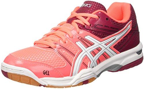 Asics Gel-Rocket 7, Zapatillas de Voleibol Mujer, (Flash Coral/White/Cerise), 39.5 EU