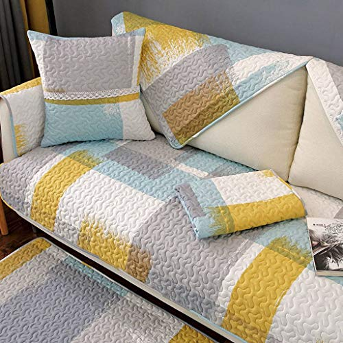 Sofa Slipcover, Couch Sofa Cover For 2 3 4 Cushion Couch, 100% Cotton Furniture Protector Water Resistance Non Slip, For Kids Pets Chair Cushions-J-70×180CM(27.5×71in)