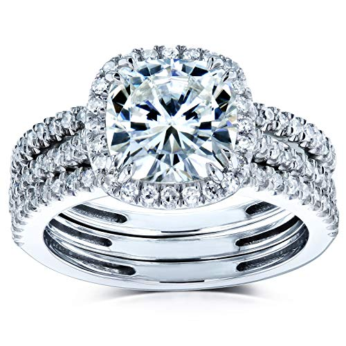 Kobelli Cushion Brilliant Moissanite Halo Bridal Wedding Rings Set 2 1/2 CTW 14k White Gold (FG/VS, GH/I), 5.5