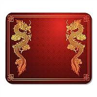 マウスパッドアジアゴールド中国の伝統的なドラゴンに赤中国パターンマウスパッドノートブック、デスクトップコンピューターマットオフィス用品