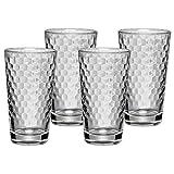 WMF CoffeeTime Longdrinkgläser Set 4-teilig, Gläser 275ml mit Wabenmuster, Latte Macchiato, Cocktail, hitzebeständiges Kristallglas, spülmaschinengeeignet