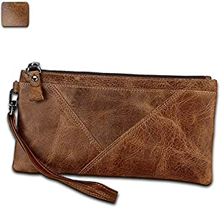 Men's Wallet Crazy Horse Skin Anti-Theft Brush Anti-RFID Hand Card Package Multi-Function Handbag Fashion Trend for Leisure Travel (Color : Brown, Size : S)