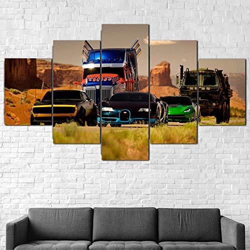 Impresión En Lienzo 5 Piezas Cuadro Sobre Lienzo,5 Piezas Cuadro En Lienzo,5 Piezas Lienzo Decorativo,5 Piezas Lienzo Pintura Mural,Regalo Navidad,Transformers Cars Película,Decoración Hogareña
