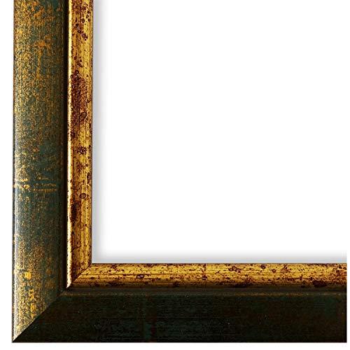 Bilderrahmen Grün Gold DIN A4 (21,0 x 29,7 cm) cm - Modern, Klassisch - Alle Größen - handgefertigt - Galerie-Qualität - WRF - Perugia 4,0