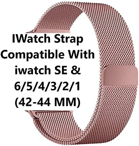 Stainless Steel Watch Band Compatible with Apple Watch Metal Sport Bands for iWatch SE Series 6 5 4 3 2 1 42 44MM Rose Gold Watch NOT Included