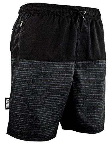 Guggen Mountain Pantalones Cortos De baño Y Playa para Hombres Pantalones Cortos De Traje Y Natación Bañador con Modelo Negro L