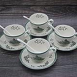 ZLDGYG Juego de 4 tazas de té de árbol de Navidad con platillo y cuchara taza de té de Navidad taza de café platillo conjunto de estilo europeo (color: A, tamaño