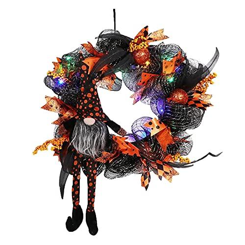 JIJK Corona de otoño LED para decoración de Halloween, gnomo elfos, bruja y sombrero para puerta delantera, decoración de pared, corona de otoño para vacaciones de Acción de Gracias