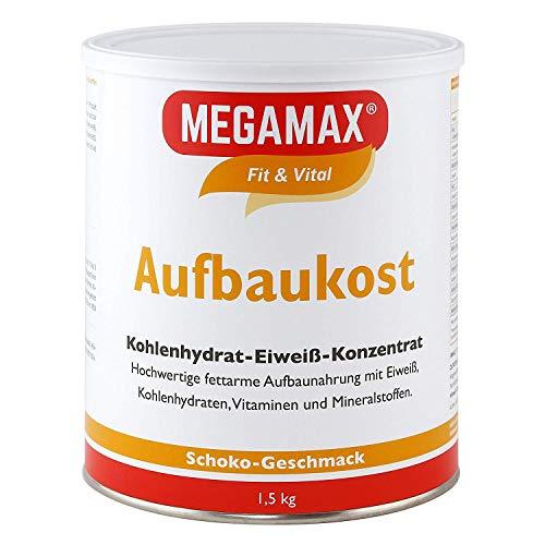 MEGAMAX Aufbaukost Schoko 1.5 kg. Trinknahrung hochkalorisch für Gewichtszunahme. Proteinpulver zur Zubereitung eines fettarmen Kohlenhydrat-Eiweiß-Getränkes für Muskelmasse u. Muskelaufbau