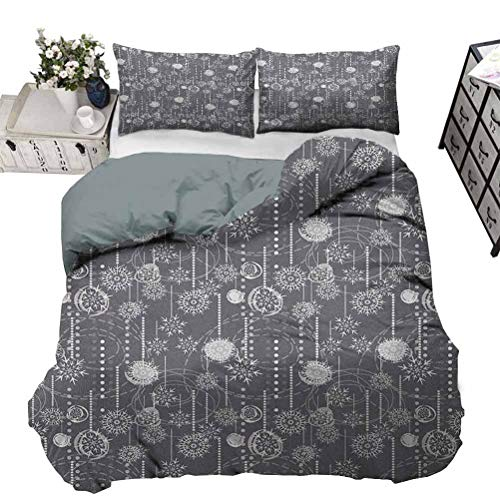 Bedding Comforter Sets Duvet Cover Winter Nursery Bedding Sets Monochrome Composition with Blizzard Figures Artistic Romantic January Decorative 3 Piece Bedding Set with 2 Pillow Shams, King Size