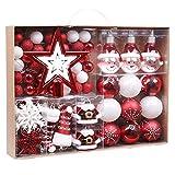 Joielavie Boules de Noël à Suspendre Incassable Blanc Rouge Vert Kit de Décorations pour Sapin de Noël - 70 Pièces