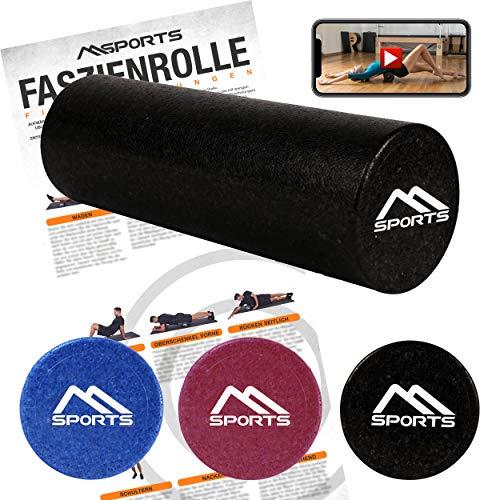 MSPORTS Faszienrolle Professional Studio Qualität inkl. Übungsposter + Workout App GRATIS | Massagerolle Foamroller
