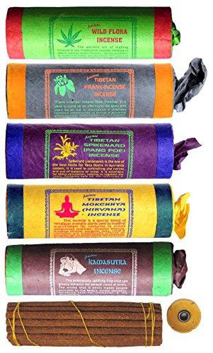 BUDDHAFIGUREN Juego de 5 varitas de incienso tibetano: Flora silvestre - Incienso de Frank -...