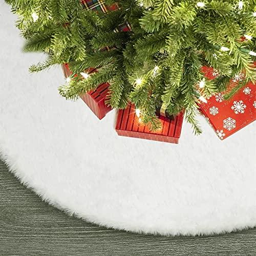 Falda de árbol de Navidad 48 pulgadas Adornos de árbol de Navidad grande Nevado Blanco Lujo Falda de piel Falda de árbol Falda Fluffy Doble Capa Navidad Falda Falda Falta for Navidad Hogar Decoración ⭐
