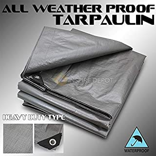 XtremepowerUS Heavy Duty Tarps 14 Mil Silver Multi-Purpose Waterproof Poly Tarp Cover with Tent Shelter Camping Tarpaulin (14 Feet x 20 Feet)