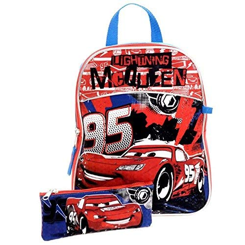 Disney Cars Mini Backpack with Pencil Case - 12 Inch School Bag for Kids [Blue]