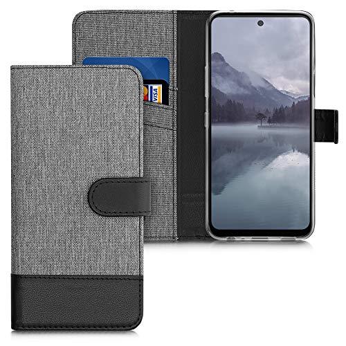 kwmobile Wallet Hülle kompatibel mit LG K42 - Hülle Kunstleder mit Kartenfächern Stand in Grau Schwarz