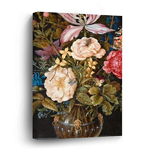 Balthasar Van Der AST Still Life with Flowers Canvas Picture Painting Artwork Wall Art Poto Framed Canvas Prints for Bedroom Living Room Home Decoration, Ready to Hanging 12'x12'