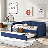 Flieks T1win Upholstered Daybed, Linen Fabric UpholsteredTufted Sofa Bed with Trundle, Sofa Bed Trundle Daybed with Wood Frame (Blue)