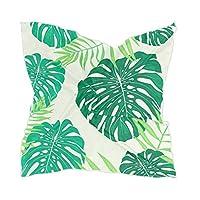 スカーフ バンダナ ハンカチ おしゃれ レデイース 正方形 シルクスカーフ 薄手 スクエア 髪飾り バッグ飾り 小さめ 人気 柔らか ハワイ 熱帯植物 緑 グリーン 北欧風 リーフ