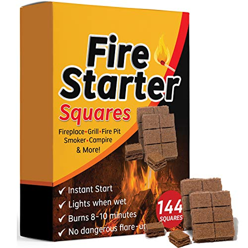 Bangerz Sunz Fire Starter Squares 144, Larger and Safer Fire Starters for Fireplace, Wood Stove & Grill, Camp Fire Pit Charcoal Starters 50B, USA Made