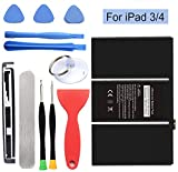 HDCKU Battery for iPad 3(3rd Generation Battery) and iPad 4 (4th Generation Battery) Replacement iPad Battery with Repair Tools