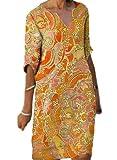 DFDFG Vestido de verano con cuello en V, vestido largo hasta la rodilla, estilo retro, camisa casual, vestido holgado con mangas (naranja, XL)