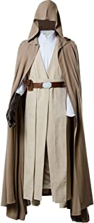 Men's Halloween Tunic Hooded Robe Outfit Luke Skywalker for Jedi Costume Two Versions