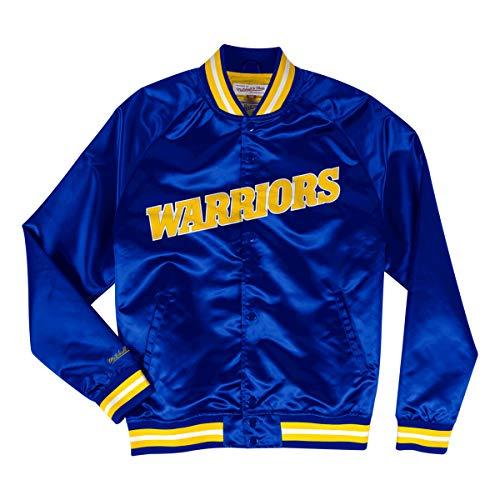 Mitchell & Ness NBA Satin College Jacke Tough Season Golden State Warriors mavy/orange (L, Blau)
