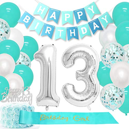 13th Birthday Decorations Girls Teal with Happy 13 Birthday Cake Topper Number 13 Balloons Birthday Girl Sash Happy 13th Birthday Supplies