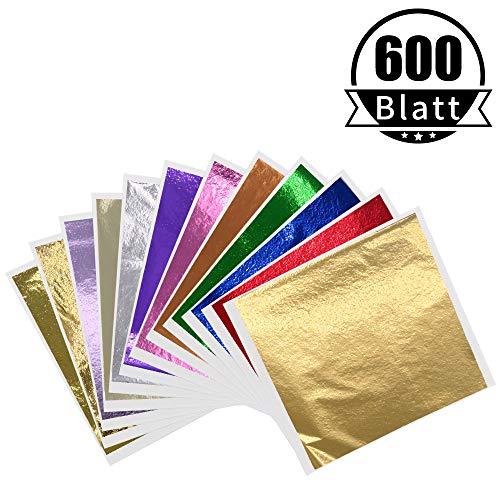 KINNO12 Farben Imitation Blattgold Mehrfarbige Goldfolie - 600 Stück für Kunstdekoration Kunsthandwerk Vergoldung Möbel Nägel Gemälde Wand DIY 8x8.5cm