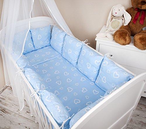 Amilian® Baby Nestchen Bettumrandung 420 cm Design: Herzen blau Bettnestchen Kantenschutz Kopfschutz für Babybett Bettausstattung