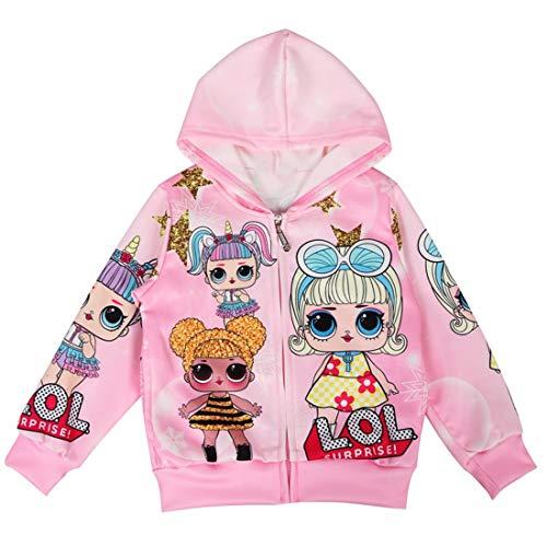 Thombase LOL Dolls Girls Chaquetas Navidad Navidad Sudaderas con Capucha Abrigo Big Dot Cartoon 3-8Years (rosado1, 130 (5-6 años))