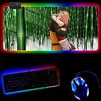 マウスパッドナルトアニメRGBルミナスゲーミングマウスパッドカラフルな特大の光るLED拡張発光キーボードパッド滑り止めマウスパッド-B_300mm_x_600mm_x_4mm