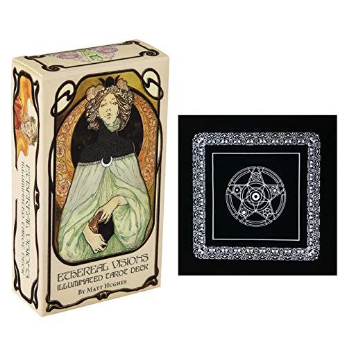 Ethereal Visions Illuminated Tarot Deck Karten Spiel mit schwarzem Plüsch Altar Tabellen-Tuch, Pentagram Retro Tarot Tuch für Partei-Spielkarten Familienspiele