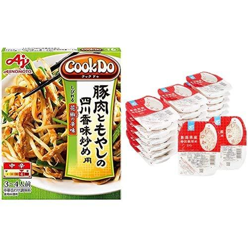 味の素 Cook Do 豚肉ともやしの香味炒め用 100g ×10個 + Happy Belly パックご飯 新潟県産こしひかり 200g×20個(白米) 特別栽培米