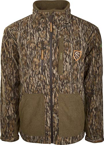 Drake Waterfowl HydroHush Heavyweight Full Zip Jacket with Agion Active XL Mossy Oak Bottomland 3Xlarge