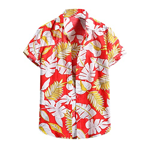 feftops Hombre Camisas Hawaiana Guapo Solapa Estampada Moda Casual Manga Corta Camisas 2021 Playa de Verano Casual Suelta Camisa Delgado y Cómodo