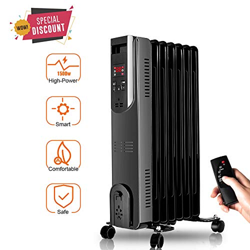 TRUSTECH Heater, Oil-Filled Radiator with Remote Control, Digital Display, Overheat & Tip-Over Protection, 600W/900W/1500W Constant Heating Comfortable Companion in Cold Weather, Black