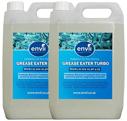 Grasa Eater Turbo, 2X 5L, Grasa Degrade enzimas, limpiador de drenaje–La Entrega incluidos