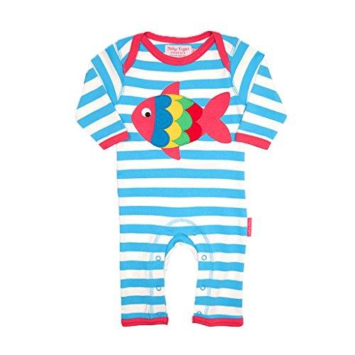 Toby Tiger Fish Applique Sleepsuit Combinaison, Bleu - Blue (Blue/Pink/Yellow/Green/Red), 0-3 Mois (Taille Fabricant:56 cm) Bébé Fille