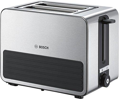 Bosch TAT7S25 Kompakt-Toaster, Auftau/Aufknusperfunktion, automatische Brotzentrierung, Abschaltautomatik, 1050 W, Edelstahl/schwarz