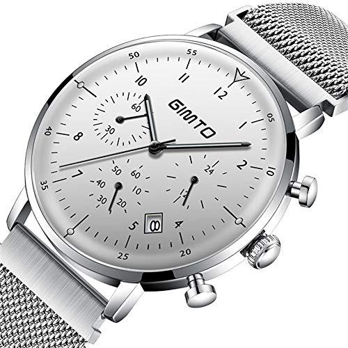 GIMTO Luxusmarke Herrenuhr Stahl Wasserdicht Datum Uhr Quarz Chronograph Männlich Military Casual Sportuhren,B