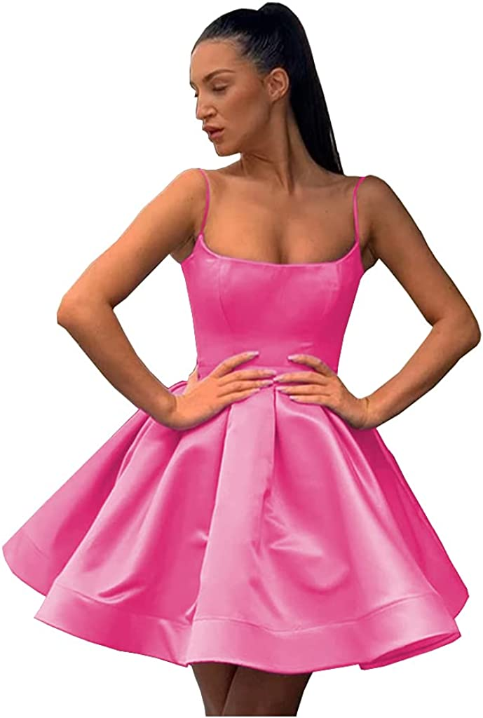 Promworld Women's Short Spaghetti Straps Satin Homecoming Dresses Prom Dresses